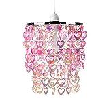 MiniSun – Rosa und hängender Lampenschirm mit Herzen für Kinder – für Hänge- und Pendelleuchte