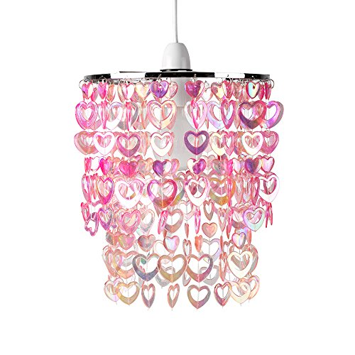 Beautiful-Pretty-Pink-Acrylic-Love-Heart-Beads-Ceiling-Pendant-Childrens-Light-Shade