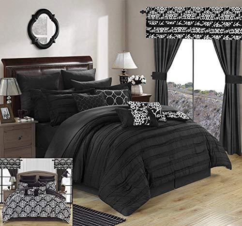 Chic Home 24Stück Hailee komplett Plissee Rüschen und beidseitig Bedruckt Bett in Einem Beutel Tröster Set mit Fenster Behandlung, Queen, schwarz (24 Stück Tröster Set)