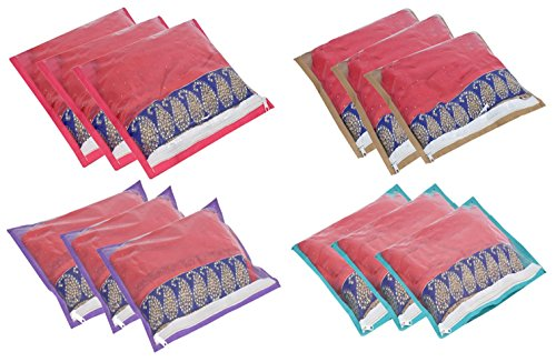 Yellow Weaves Non Woven Single Saree Cover 12 Pcs Combo, Color:Multi