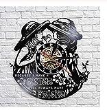 Amicizia Record di Vinile Vintage gemelle Sorelle Wall Art Amici Decorazione della Parete Orologio da Parete Moderno Orologio da Parete Regalo del Migliore Amico 12 Pollici