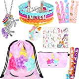 24 Pieces Unicorn Drawstring Backpack Necklace Bracelet Hair Ties Accessories
