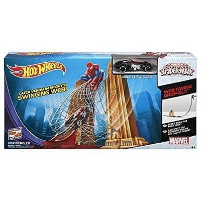 Coches Hot Wheels con Figura de Spiderman de Marvel – Pista de Ultimate Spiderman con Telaraña con el coche de Venom de regalo
