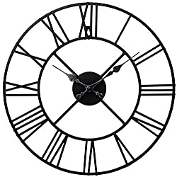 Stunning Metal Roman Numeral Clock - Black 'Iron'