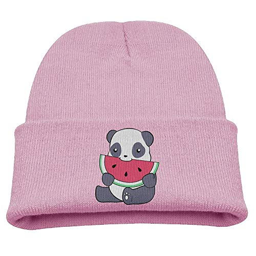Panda and A Watermelon Unisex Slouchy Beanie Black -