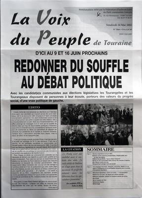 VOIX DU PEUPLE (LA) N? 3066 du 24-05-2002 D'ICI AU 9 ET 16 JUIN PROCHAINS - REDONNER DU SOUFFLE AU DEBAT POLITIQUE - EDITO - LA CITATION - SOMMAIRE - ELECTIONS LEGISLATIVES DU 9 JUIN 2002 - APRES COMME AVANT LES PRESIDENTIELLES L'HOPITAL PUBLIC SERA AU COEUR DES DEBATS - MARIE-GEORGE BUFFET - QUE LA RAISON L'EMPORTE - AVEC LE VOTE COMMUNISTE FAITES AVANCER DES MESURES D'URGENCE - LA BOURSE CONTRE NOS VIES - AUJOURD'HUI LE DANGER N'EST PAS ECOUTE - UNE CAMPAGNE DE TERRAIN - DIALOGUES RENCONTRE... par Collectif