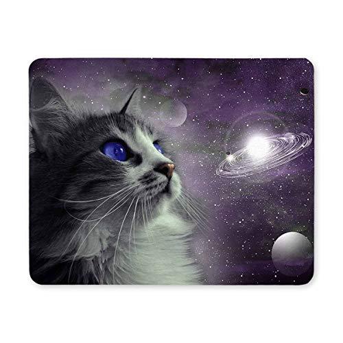 Yanteng Tappetino per mouse da gioco, Mouse Pad Cat in Space Tappetino per mouse con disegni non antiscivolo