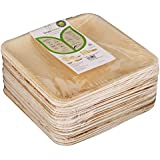 Adaaya Farms - Simply Urbane Natural Palm Leaf Square Plates - 8 Inches - Pack Of 25 - Suitable For Parties And Events - Eco Friendly/Bio Degradable/Compostable