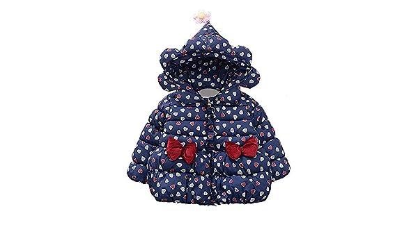 Sothread Toddler Baby Girl Boy Loving Heart Bow Hooded Winter Warm Windproof Coat Jacket Outwear