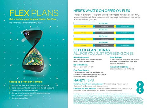 EE Flex Plan Sim Card - Complete Freedom, No Contract, No Remembering to Top Up, Roll over your unused data, and allowances you can change whenever it suits you (This is not Pre-loaded)