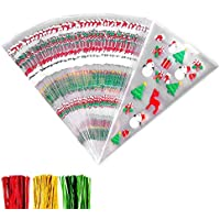 HONGCI 100Pcs Christmas Patterned Cone Cellophane Bags with 100Pcs Twist Ties,Cellophane Cone Plastic Cone Bags,Treat Candy Bags for Christmas Party Festival Favor
