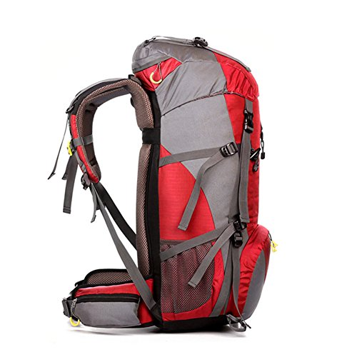 50L Rucksack Wasserdicht Outdoor Sport Wandern Trekking Camping TravelMountain ClimbingKnapsack mit Regen Cover60 x 30 x 20CM Rot