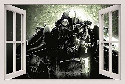 Unified Distribution Biomechanik Krieger - Wandtattoo mit 3D Effekt, Aufkleber für Wände und Türen Größe: 92x61 cm, Stil: Fenster