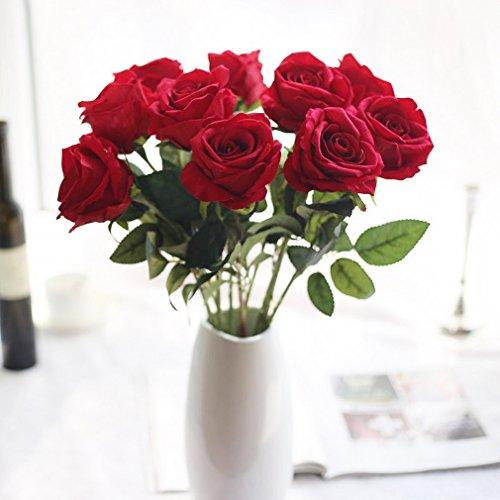 DEMU 1 Kopf Hochzeit Bunte Blumen Hochzeit Rosen Seidenblumen Kunstblumen Home Party Dekoration Rot