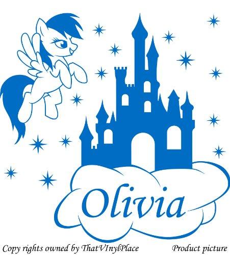"Preisvergleich Produktbild Personaliced My Little Pony "", schloss Stars, Cloud, 60 cm x 60 cm, Farbe blau, Wunsch-Namen, alle Namen, Disney, Kinderzimmer, Pferd, Kind-Raum Vinyl-Aufkleber Auto, Fenster und Wand Aufkleber, Wand Windows-Art ThatVinylPlace Wandtattoo,"