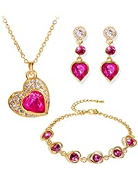Youbella Crystal Combo Of Heart Pendant Necklace Set, Bangle Bracelet And Earrings For Women
