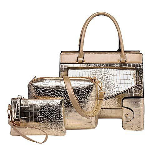4 Stück Set Handtaschen Crossbody Beutel Wallet Mobiltelefon Geldbeutel Kartentasche, PU Leder Schultertasche Shopper Tragetaschen Umhängetasche Geldbeutel Tote Taschen Clutches (Gold) -