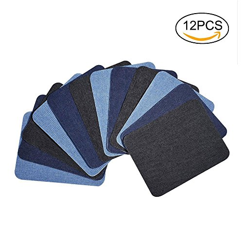 Denim-patch-kit (pawaca 12Stück 3Farben Eisen auf Patches Denim Baumwolle Patches zum Aufbügeln Reparatursatz, denim Iron On Patches no-sew Shades of Jeans Baumwolle Jeans-Reparatur-Set)
