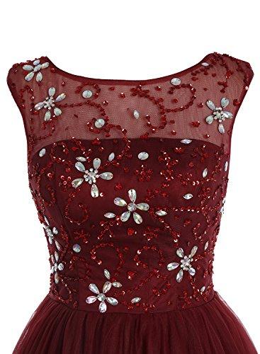 Bbonlinedress Robe de cérémonie Robe de bal en tulle emperlée longueur ras du sol Blush