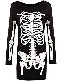 WearAll - Mujeres Largo Manga De Halloween Esqueleto Huesos Disfraz Vestido
