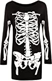 WearAll - Mujeres Largo Manga De Halloween Esqueleto Huesos Disfraz Vestido - Negro - 48-50