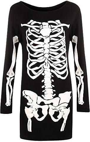 WearAll - Femmes Longue Manche Halloween Squelette Bones Costume Robe - Noir - 48-50