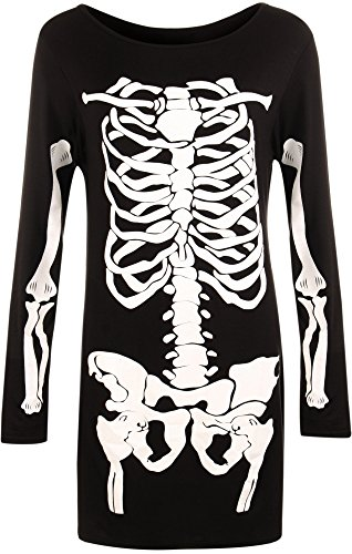 WearAll - Damen Lang Hülle Halloween Skelett Knochen Kostüm Kleid - Schwarz - 44-46 (Einfache Halloween Kostüme Mit Schwarzem Kleid)