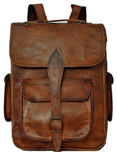 Cool-Stuff-16-Leder-Rucksack-Schultertasche-Ledertasche-Lederrucksack-Vintage-fr-Outdoor-Retro-Style-iPad-Tasche-Ledertasche-Universitt-Beruf-Unirucksack-Unisex-Praktisch-Gro-Braun