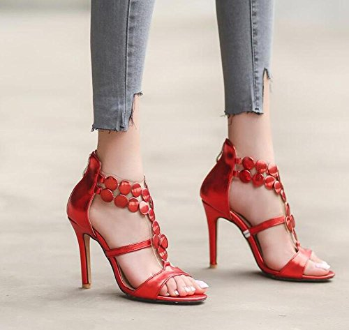 Beauqueen Pumps Open-Toe T-Strap Stiletto Tacchi alti Zipper Sandali Uffici Uffici Casual Customized Europe Dimensioni 32-46 Red