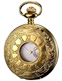 KS Taschenuhr mit Kette Herren Gold Quarz Analog Vintage Geschenkbox KSP053