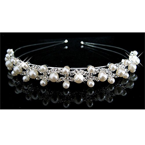 pearl crystal wedding princess tiara headband rhinestone pageant crowns for bride hair by CY-buity (Crystal Schmuck Vintage)