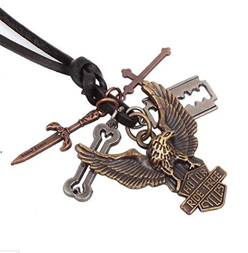 Wangjianfeng Retro Eagle Flügel Mann Anhänger Kreuz Leder Seil Halskette (Männer Gold Diamant Kreuz Anhänger)