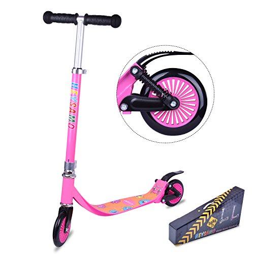 Junge roller Big Wheel 125 Scooter - HEYSAMO Kinderscooter ab 4 Jahre bis 50kg mit Rückseite Doppelfederung, aus Aluminiumlegierung,2 Jahre Garantie (Pink)