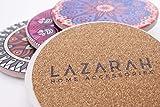 LAZARAH® Design Untersetzer Set für Gläser, Tassen, Vasen, saugfähige Keramik mit Korkrücken, Boho, Mandala, orientalischer marokkanischer Stil - 4