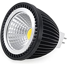 12 Vmonster DC blanco cálido 12 V COB LED Spot luz de aluminio negro bajo calor MR16 GU53 50 mm Down lámpara de 6000 K 3000 K, mr16, 7 wattsW 12.0 voltsV