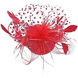 LOPILY Las Mujeres Flor Clip de Pelo Sombrero Pluma Malla Cóctel Boda Fiesta en el Té Banquete Sombrero Superior Hairband Cáñamo Tocado Sombrero de Lunares Decorado 5 Colores(Roja)