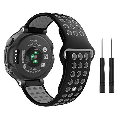 MoKo Armband für Garmin Forerunner 235, Silikon Replacement Uhrenarmband Sportarmband Erstatzband für Forerunner 220/230/620/630/735XT, Approach S20/S5, 130mm-216mm, Schwarz/Grau