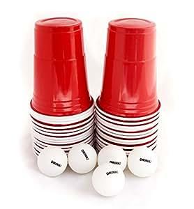 US College Party Beer Pong Partybecher Rot Set mit 60 stück stabilen (480ml), roten, einwegbaren, plastik Bechern und 5 Ping Pong Bällen