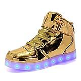 DULEE Unisex Erwachsene LED Sportschuhe Sneaker High Top Leuchtschuhe...