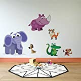 Rawpockets Decal ' Cartoon Animals ' (Material - PVC Vinyl Matte Finish, Wall Coverage Area - Height 80cm X Width 135cm) ( Pack of 1) Wall Sticker