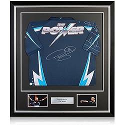 El poder Phil Taylor dardos camiseta firmada En Deluxe Negro Marco Con embutido de la plata