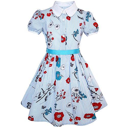 Kleid Blaue Uniform (Sunboree Mädchen Kleid Schule Uniform Blau Isolieren Sie Blumen- Drucken Gingham Gr. 134)