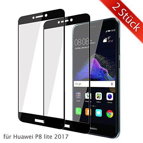 ykooe Huawei P8 Lite 2017 Schutzfolie, (2 Stück) Panzerglas Huawei P8 Lite 2017 Bildschirmschutzfolie Anti-Fingerabdruck Full Coverage Screen Protector Folie für Huawei P8 Lite 2017