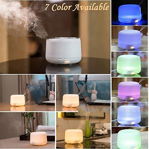 Preisvergleich Produktbild HHORD Wesentliche 300ml Aroma-Öl-Diffuser Ultraschall Aromatherapie Maschine Luftbefeuchter Sparanfeuchter Atomizer mit 3 Timer-Einstellungen und weiße LED-Lampe und 7 Bunte