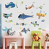 WandSticker4U- XL Wandtattoo Kinderzimmer FLUGZEUG bunt   Wandbilder: 140x100cm   Wandsticker Hubschrauber Flieger Wand-aufkleber Sterne Wolken   Deko Babyzimmer Jugenzimmer Kinder Jungs