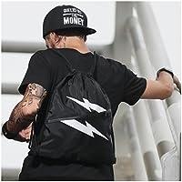 Cordón Mochila Bolsa Sackpack Impermeable Deporte Gimnasio Saco Bolsas de cuerdas Gymsack Backpack para Hombre y Mujer azul oscuro
