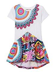 Idea Regalo - Desigual Girl Knit Dress Short Sleeve (Vest_wilminton), Vestito Bambina, Bianco (White 1000), 152 (Taglia Produttore: 11/12)