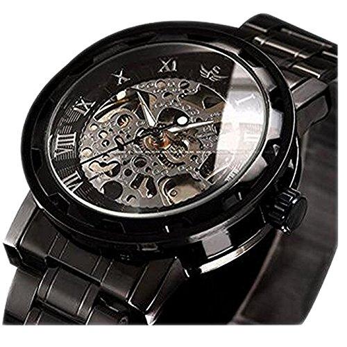 Uhren,Herren Uhren,Klassischer Stil Mechanische Uhr Skeleton Edelstahl Timeless Design Mechanischer Steam Punk mit Link Bracelet (Schwarz)