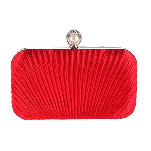 HIDOUYAL Damen Clutches Abendtaschen Handmade Kupplung Umhängetasche mit Kette Rot