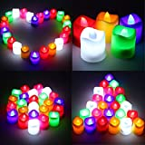 Hanumex® Premium Flickering Like Beautiful And Elegant Alria Led Candles Flameless Smokeless Multi Auto Color Change Tea Light For Diwali Gifts Home Decor/ Wedding/ Birthday/ Festivals / Anniversary / All Purpose - Set Of 24 Pcs (Battery Included)